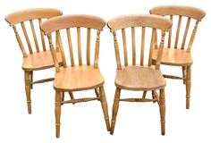 English Lathe-Back Pine Chairs, Set of 4 on OneKingsLane.com