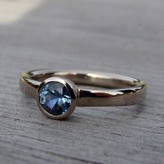 From Mcfarland Designs / Montana fair trade sapphire / 18K palladium recycled white gold / 5 mm stone on a 3 mm comfort fit band / size 7.5