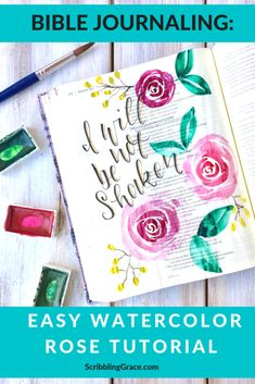 Bible Journaling- Easy Watercolor Rose Tutorial Watercolor Flowers Tutorial, Easy Watercolor, Watercolour Tutorials, Watercolor Cards, Watercolor Paintings, Watercolors, Flower Paintings, Painting Flowers, Abstract Flowers