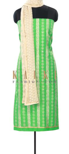 Buy Online from the link below. We ship worldwide (Free Shipping over US$100) Price- $59 Click Anywhere to Tag http://www.kalkifashion.com/green-unstitched-suit-enhanced-in-resham-embroidery-only-on-kalki.html