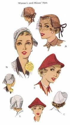 """1950's Millinery Vint Hats VEIL Cap 22"""" Fabric Material Sewing Sew Pattern 1652"""