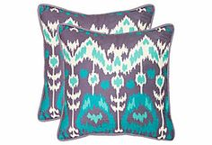 S/2 Manhattan Pillows, Teal/Purple | Seeing Double | One Kings Lane