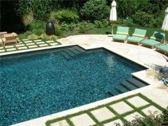 "natural swimming pool . stone ""sunken patio"" bottom, and a ..."