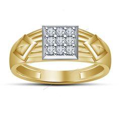 Nine Stone Men's Band Ring Round Cut Diamond Prong Set in 925 Silver 0.27 Carat #aonedesigns #NineStoneMensRing