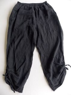 Flax Linen Pants Medium Womens Black Gray Cropped Ties drawstring Pull On  #flax #CapriCroppedRelaxed