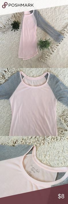 Quarter length shirt Light pink and sparkly silver baseball style top American Eagle Outfitters Tops Tees - Long Sleeve