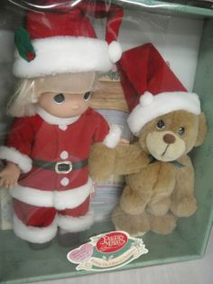 Precious Moments Santa Doll and Plush Bear Wishing You a Bear-ie Christmas 2000 #PreciousMoments