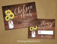 Penelopes Paper Pantry is proud to list our collection of Fall Wedding Invitations. The rustic wedding invitations are fully customizable
