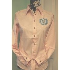 Ladies monogrammed twill button up shirt