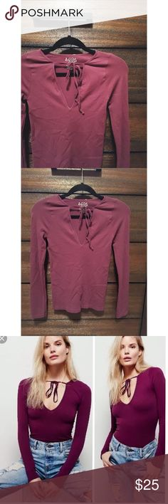 I N T I M A T E L Y   F R E E   P E O P L E Plum color • Tie top • Tight fitting • Excellent condition • NO TRADES/HOLDS • All reasonable offers accepted • Free People Tops