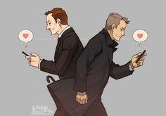 Mycroft Holmes / Gregory Lestrade / Mystrade / BBC Sherlock / texting / fanart / fan art