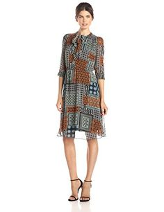 KUT from the Kloth Women's Chloe Printed Dress: sleeve printed chiffon collarless tie-front dress Minimalist Fashion Women, Tie Front Dress, Print Chiffon, Dresses Online, Women's Dresses, Fashion Over 50, Office Wear, Suits For Women, Plus Size Fashion