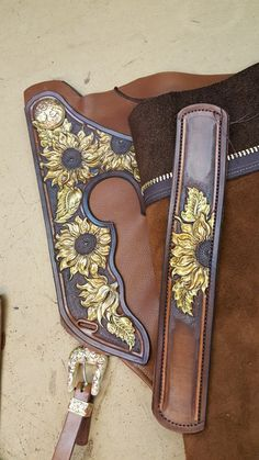 Tooled leather chaps