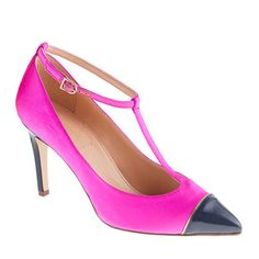 fuchsia and navy t-strap pumps