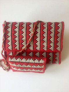 Set of bag and wallet for women, embroidered in plastic canvas with flattened cotton thread in two colors (red and beige) by NatashasCreationsGR on Etsy Plastic Canvas Ornaments, Plastic Canvas Crafts, Plastic Canvas Patterns, Crochet Handbags, Crochet Purses, Women's Handbags, Diy Wallet Pattern, Canvas Purse, Canvas Bags