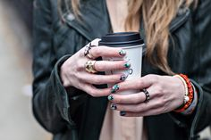 rings + patterned nails