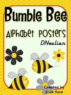 *Bumble Bee Themed Alphabet Posters DNealian Font