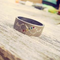Custom Made Wedding Ring | Handmade With Pavéd Diamonds Forming The Infinity Sign On A Wide Band