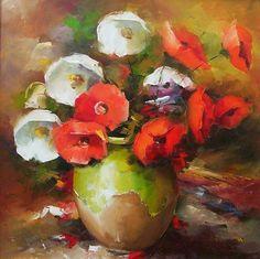 Cu gândul la Anemonele lui Luchian. Oil Paintings, Red, Painting Art, Oil On Canvas, Art Oil