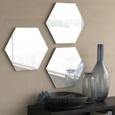 This item is unavailable 7 Hexagon Mirror Wall Decor Stickers Acrylic Mirrored Stickers 3d, Mirror Wall Stickers, Home Wall Decor, Diy Room Decor, Living Room Decor, Silver Wall Mirror, Acrylic Mirror, Blue Grey Walls, First Apartment Decorating