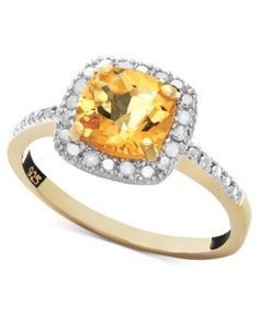 Victoria Townsend 18k Gold over Sterling Silver Ring, Citrine (1-1/4 ct. t.w.) and Diamond (1/10 ct. t.w.) Square | macys.com