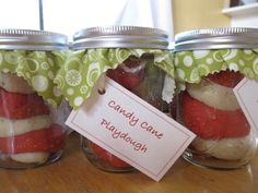 Great idea for my kids to make their friends for Christmas.    http://go.tipjunkie.com/hm/1753/artfulparent.typepad.com/artfulparent/2010/12/candy-cane-playdough.html