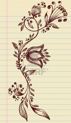 Sketchy Doodle Henna Elegant Flowers and Vines Hand Drawn Vector Stock Photo - 12852100