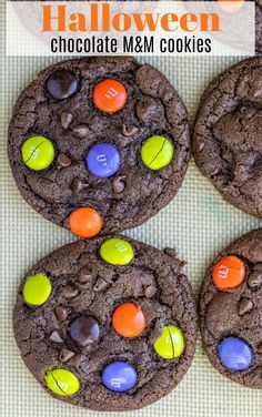 Soft chocolate chocolate chip cookies made with Halloween M M M Cookies, Halloween Chocolate, Chocolate Chip Cookies, Cookie Recipes, Chips, Eat, Recipes For Biscuits, Potato Chip, Biscuits
