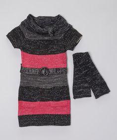 Love this Black & Pink Sweater Dress & Arm Warmers on #zulily! #zulilyfinds