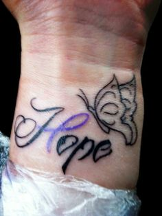 "Chiari malformation tattoo with ""hope"" and ribbon.  I really like this one actually."