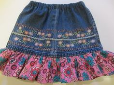 Child's denim skirt from a pair of jeans - tutorial ♥