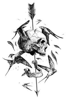 Nikita Sergushkin on Behance Tattoo Design Drawings, Skull Tattoo Design, Tattoo Sketches, Tattoo Designs, Drawing Sketches, Cool Skull Drawings, Skull Hand Tattoo, Skeleton Tattoos, Skull Tattoos