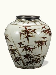 [Joseon Dynasty (16th Century)] Jar, White Porcelain with Plum and Bamboo Design in Underglaze Iron-Brown