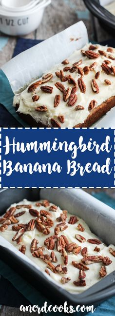 Hummingbird Banana Bread with Cream Cheese Frosting - A Nerd Cooks Just Desserts, Delicious Desserts, Dessert Recipes, Yummy Food, Banana Bread Cream Cheese, Cream Cheese Frosting, Hummingbird Bread Recipe, Hummingbird Cake, Banana Bread Recipes