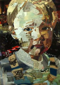 Portraits created with layers of collaged magazines and books on paper by Patrick Bremer.