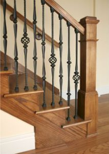 Do It Yourself Decorative Iron Balusters, Kits, Railing, Merced County Stair Systems Interior Stair Railing, House Staircase, Stair Railing Design, Staircase Railings, Railing Ideas, Bannister, Staircases, Wrought Iron Stair Railing, Iron Balusters