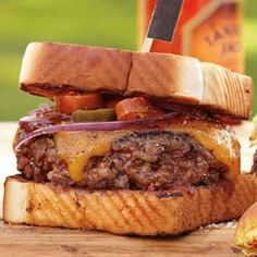 Texas Burgers Recipe on Yummly. Burger Dogs, My Burger, Burger And Fries, Beef Burgers, Good Burger, Brisket Burger, Veggie Burgers, Grilling Recipes, Gourmet Recipes