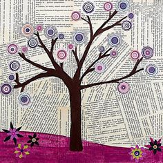 Tree Collage Art - Original Mixed Media Abstract Tree Collage Art Painting by Sascalia. Could vary the background with sheets of music, journal pages, old book pages. 20 Clever and Cool Old Book Art Examples, http://hative.com/old-book-art-examples/,