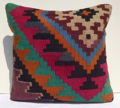 Kilim pillow Decorative Pillows Tribal Pillow by PillowTalkOnEtsy, $46.00