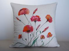 Hand Painted Decorative Poppies Pillow Buldan by aishamaisha