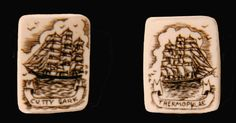 Ivory cufflinks with ships. David St. Albans 1982