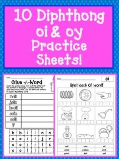 Diphthongs 10 Practice Sheets For oi and oy Diphthongs FREE