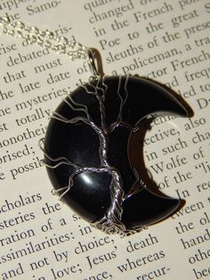 Genuine BLACK AGATE Moon Necklace - Silver Wire Wrapped Crescent Moon Pendant with Agate Crystal - Tree of Life Necklace - Reiki Pendant Tree Of Life Necklace, Moon Necklace, Gemstone Necklace, Crystal Tree, Black Agate, Wire Wrapped Jewelry, Crystals And Gemstones, Silver Necklaces, Pendant