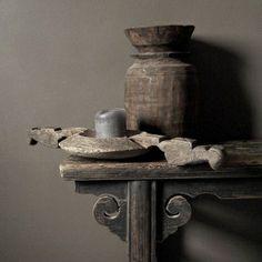 Old Wooden Grinder & Jug