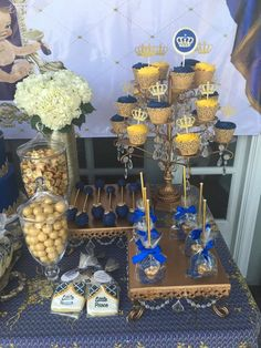 Royal treats at a prince baby shower party! See more party planning ideas at CatchMyParty.com!