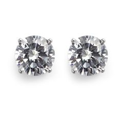Cz by Kenneth Jay Lane Brilliant cut cubic zirconia stud earrings ($75) ❤ liked on Polyvore featuring jewelry, earrings, metallic, zirconia jewelry, metallic jewelry, cz earrings, stud earring set and cubic zirconia earrings