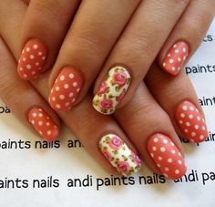 Polka Dot and Floral Nail Art