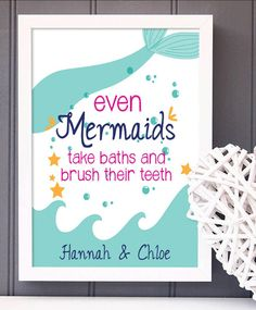 mermaid bathroom decor A great print for any little mermaid's bathroom! Customize this product with your own details and colors. Made with archival inks on premium luster pape Little Mermaid Bathroom, Mermaid Bathroom Decor, Modern Bathroom Decor, The Little Mermaid, Bathroom Ideas, Mermaid Room, Boho Bathroom, Bathroom Inspo, Bathroom Organization