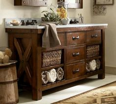 I love repurposing old dressers as vanities!