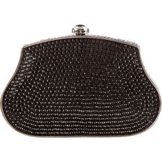 Pre-owned Judith Leiber Crystal Emellished Minaudiere ($425) ❤ liked on Polyvore featuring bags, handbags, clutches, black, metallic clutches, metallic handbags, judith leiber clutches, metallic purse and judith leiber purses